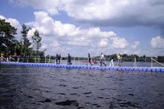 Schwimmende Ponton Behelfsbrücken
