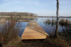 Ponton Badesteg aus Holz am Uferrand