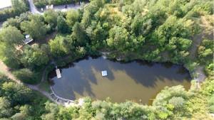 Badeinsel Gruener See und Badesteg - JETfloat