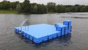 Schwimminsel Ponton Badeinsel Campingplatz Heisterberger Weiher