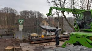 Schwimmplattform Brückenabriss Arbeiten - Brückenbau / Wasserbau