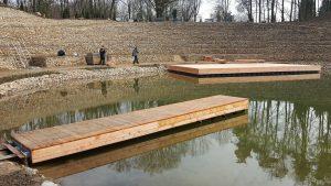 Schwimmponton Schwimmsteg bzw. Holzsteg aus JETfloat Elementen von Duwe & Partner