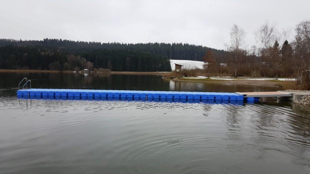 Ponton Steg aus JETfloat Schwimmkörpern am Niedersonthofener See