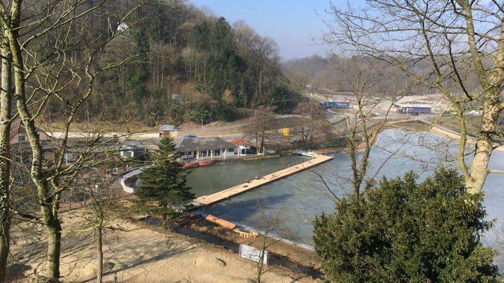 Landesgartenschau 2018 Bad Iburg Schwimmsteg aus Pontons mit Holz verkleidet