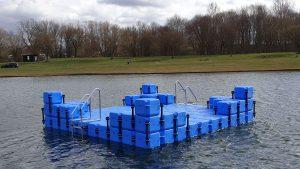 im Freibad im Halberstädter See - 5m x 5m große Ponton Schwimmkörper Badeinsel