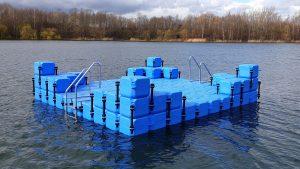 Kunststoff Schwimminsel wurde mit vier Eckaufdopplungen am Halberstädter See