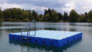 Duwe & Partner baut Ponton Schwimminsel auf dem Olchinger See
